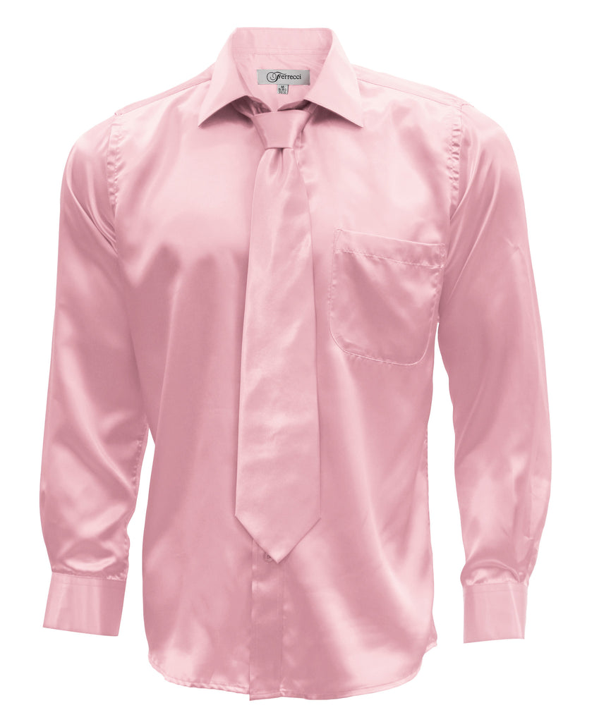 Ferrecci Mens Pink Satin Dress Shirt Necktie and Hanky Set