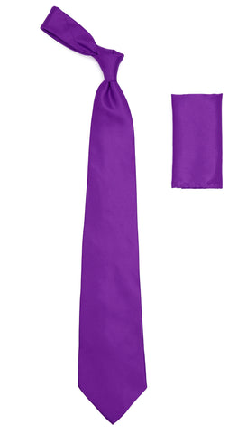 Purple Satin Regular Fit Dress Shirt, Tie & Hanky Set