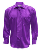 Ferrecci Mens Purple Satin Dress Shirt Necktie and Hanky Set