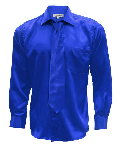 Ferrecci Mens Royal Blue Satin Dress Shirt Necktie and Hanky Set