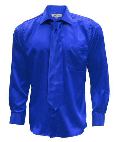 Royal Blue Satin Regular Fit Dress Shirt, Tie & Hanky Set