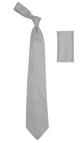 Silver Satin Regular Fit Dress Shirt, Tie & Hanky Set