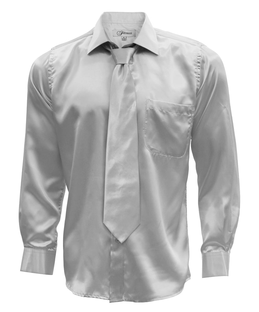 Ferrecci Mens Silver Satin Dress Shirt Necktie and Hanky Set