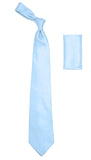 Ferrecci Mens Sky Blue Satin Dress Shirt Necktie and Hanky Set