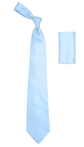Sky Blue Satin Regular Fit French Cuff Dress Shirt, Tie & Hanky Set