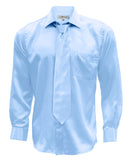 Ferrecci Mens Sky Blue Satin French Cuff Dress Shirt Necktie and Hanky Set
