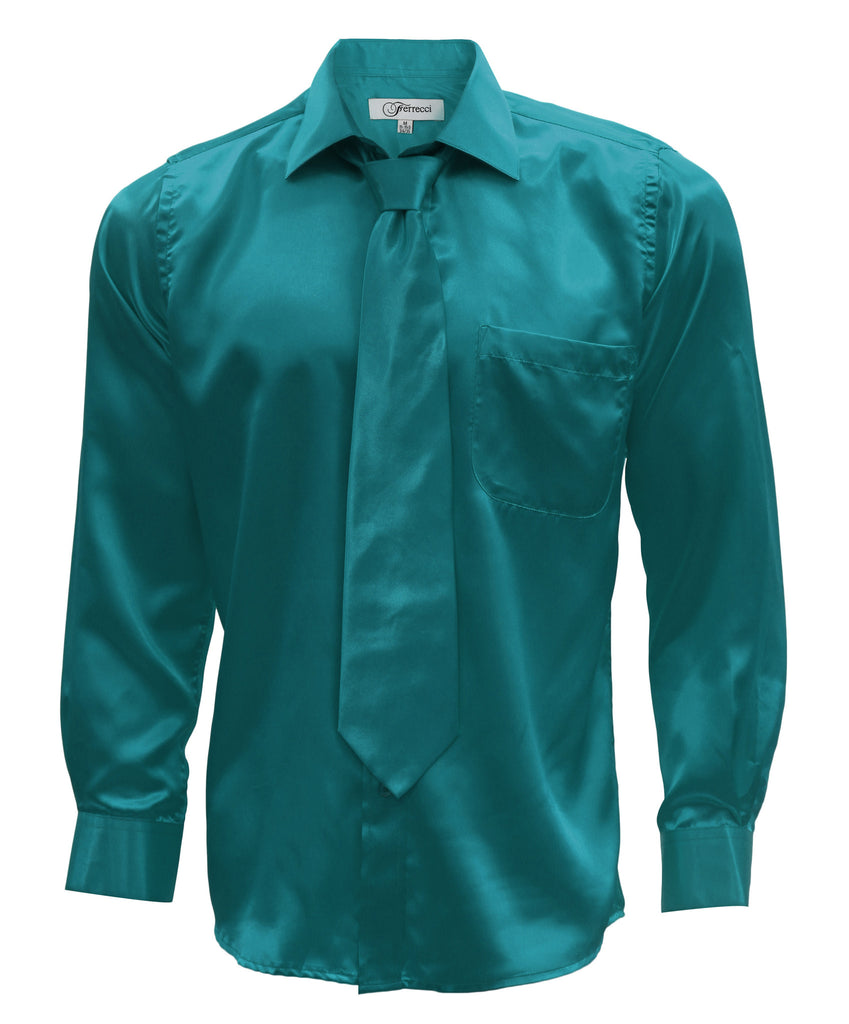 Ferrecci Mens Teal Satin Dress Shirt Necktie and Hanky Set