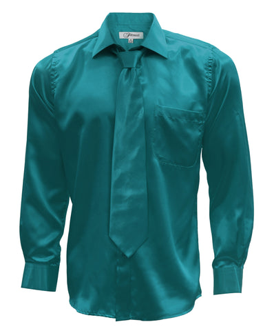 Teal Satin Regular Fit Dress Shirt, Tie & Hanky Set