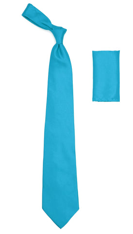 Turquoise Satin Regular Fit Dress Shirt, Tie & Hanky Set