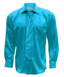 Ferrecci Mens Turquoise Satin French Cuff Dress Shirt Necktie and Hanky Set