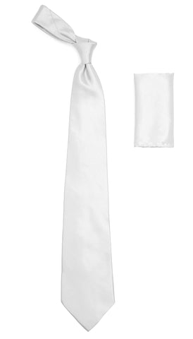 White Satin Regular Fit Dress Shirt, Tie & Hanky Set