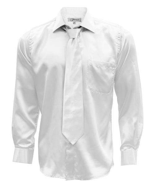 Ferrecci Mens White Satin Dress Shirt Necktie and Hanky Set