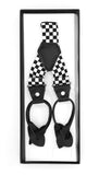 Black & White Check Unisex Button End Suspenders - FHYINC best men's suits, tuxedos, formal men's wear wholesale