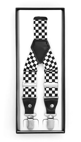 Black & White Check Unisex Clip On Suspenders