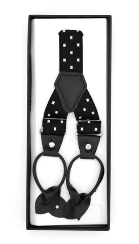 Black with White Dot Unisex Button End Suspenders
