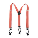 Coral Unisex Button End Suspenders - FHYINC best men's suits, tuxedos, formal men's wear wholesale