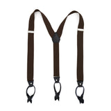 Dark Brown Blue Unisex Button End Suspenders - FHYINC best men's suits, tuxedos, formal men's wear wholesale