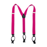 Fuchsia Button-End Unisex Suspenders - FHYINC best men's suits, tuxedos, formal men's wear wholesale