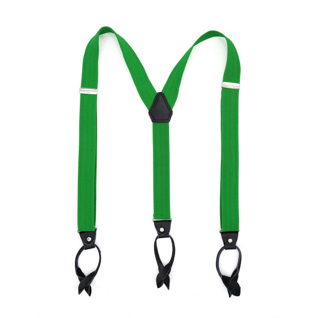 Ferrecci Premium Unisex Green Button End Suspenders