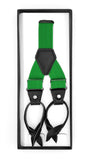 Green Button-End Unisex Suspenders