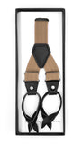 Light Brown Button-End Unisex Suspenders