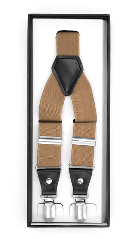 Light Brown Clip-On Unisex Suspenders