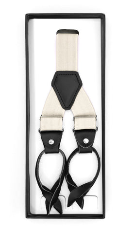 Off White Unisex Button End Suspenders