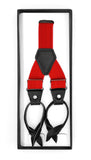 Red Unisex Button End Suspenders