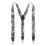 Black & White Zebra Unisex Clip On Suspenders - FHYINC best men's suits, tuxedos, formal men's wear wholesale