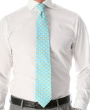 Cow Aqua Necktie with Handkerchief Set - FHYINC best men's suits, tuxedos, formal men's wear wholesale