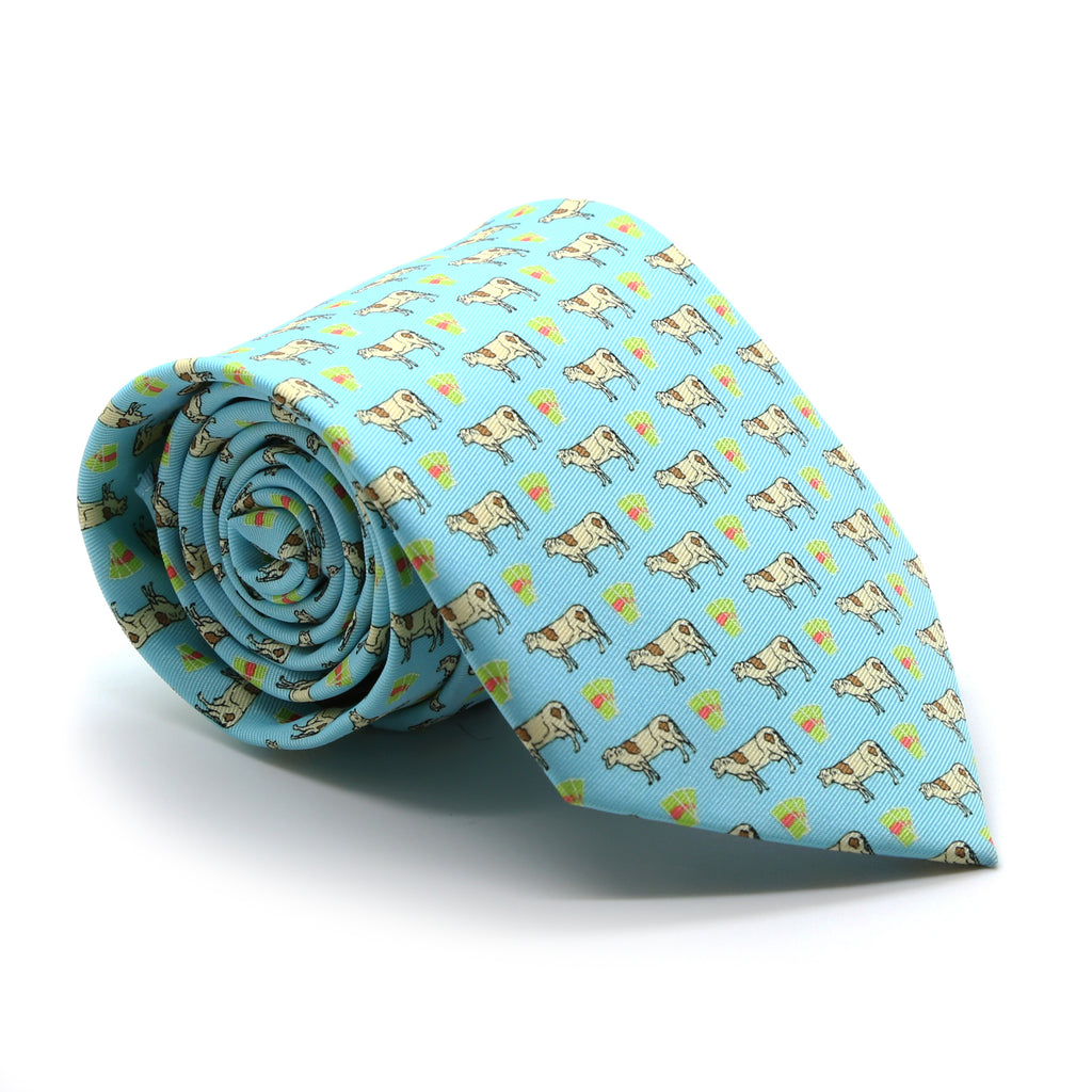 Cow Aqua Necktie with Handkerchief Set - FHYINC best men