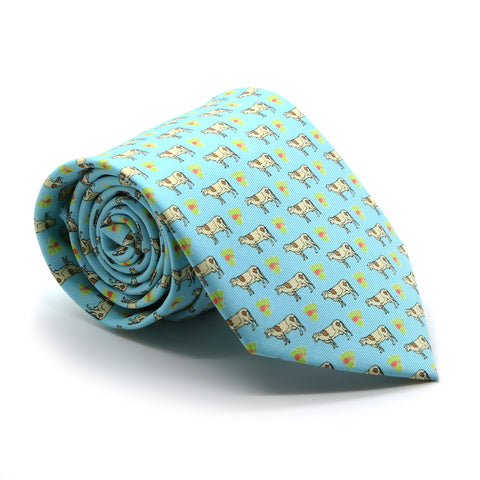 Cow Aqua Necktie with Handkerchief Set