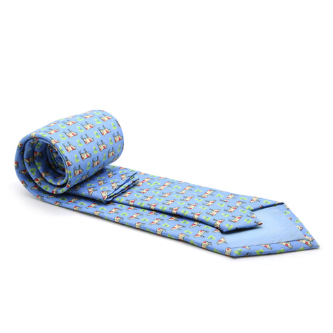 Cow Blue Necktie with Handkerchief Set