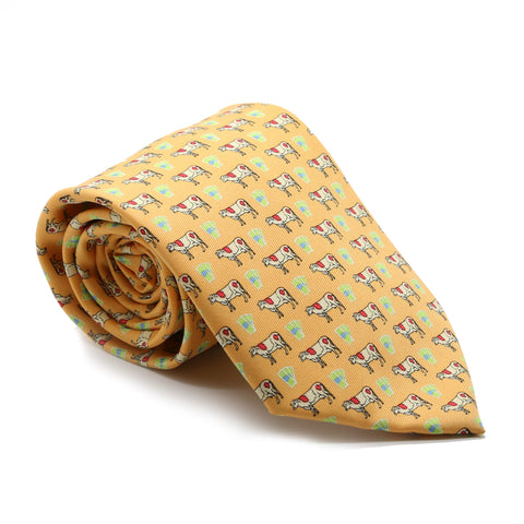 Cow Citrus Necktie with Handkerchief Set