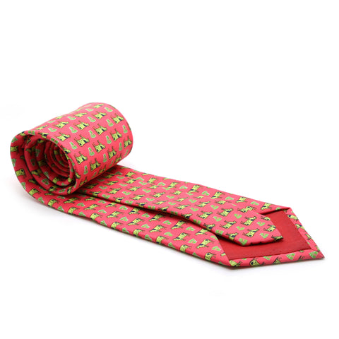 Cow Coral Necktie with Handkerchief Set