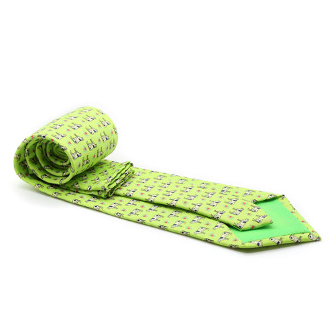 Cow Lime Green Necktie with Handkerchief Set