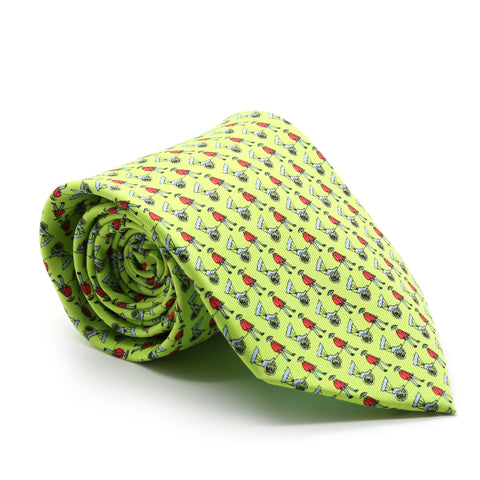 Carriage Driver Lime Green Necktie with Handkerchief Set