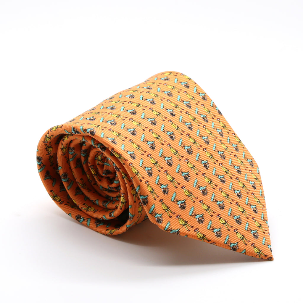 Carriage Driver Orange Necktie with Handkerchief Set - FHYINC best men