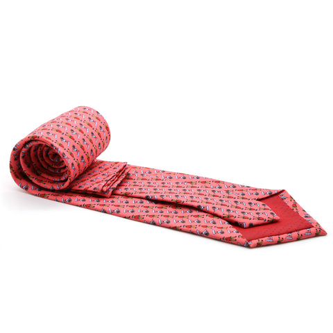 Carriage Driver Pink Necktie with Handkerchief Set