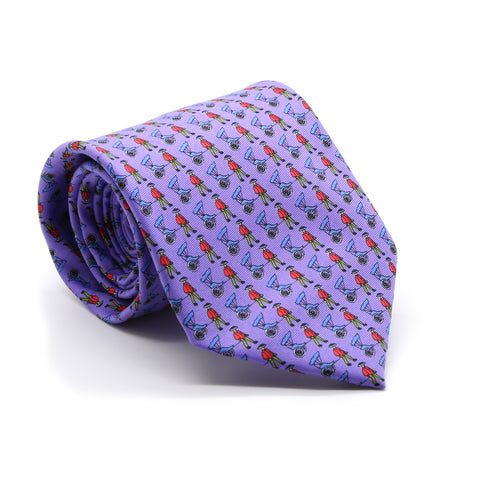 Carriage Driver Purple Necktie with Handkerchief Set