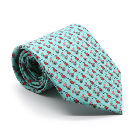Carriage Driver Teal Necktie with Handkerchief Set