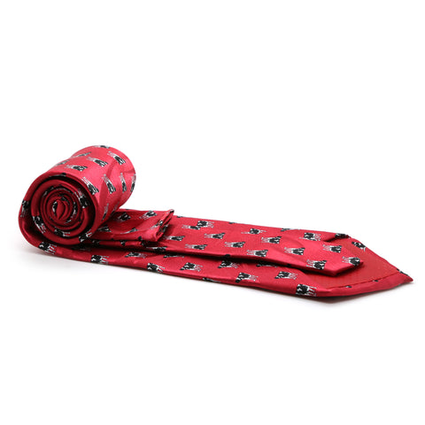 Cow Red Necktie with Handkerchief