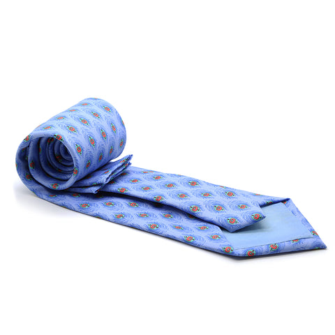 Feather Blue Necktie with Handkerchief Set