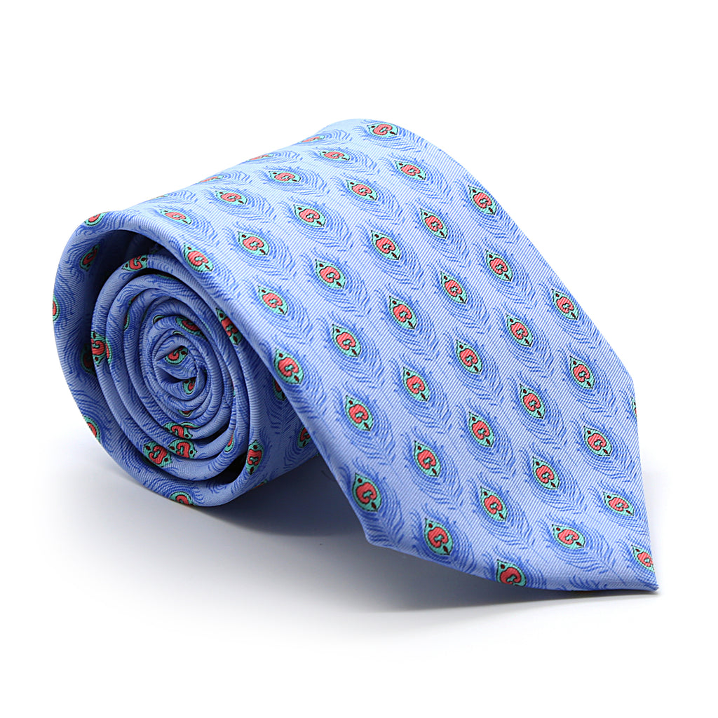 Feather Blue Necktie with Handkerchief Set - FHYINC best men