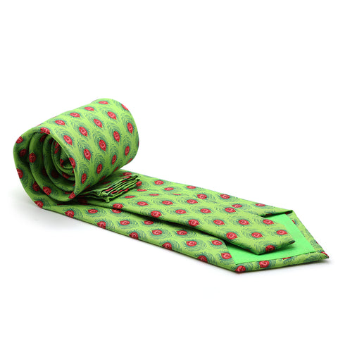 Feather Green Necktie with Handkerchief Set