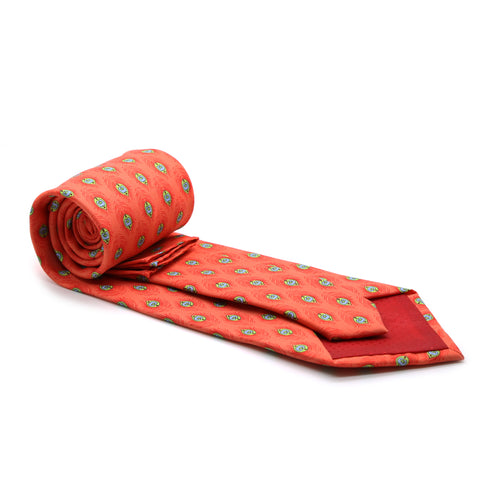 Feather Orange Necktie with Handkerchief Set