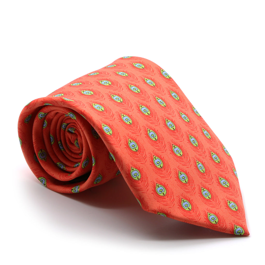 Feather Orange Necktie with Handkerchief Set - FHYINC best men's suits, tuxedos, formal men's wear wholesale