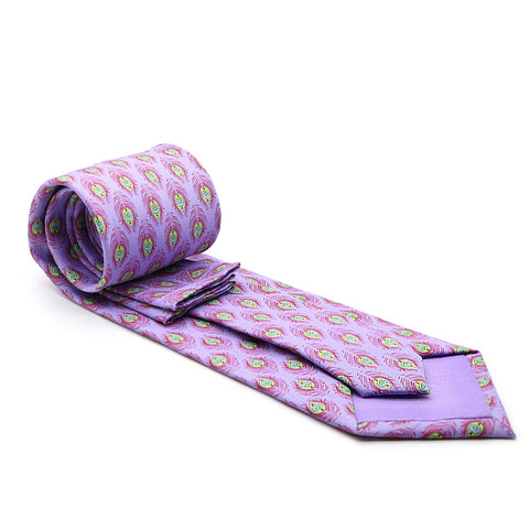 Feather Purple Necktie with Handkerchief Set