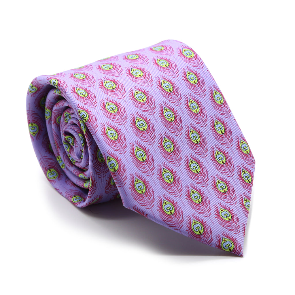 Feather Purple Necktie with Handkerchief Set - FHYINC best men