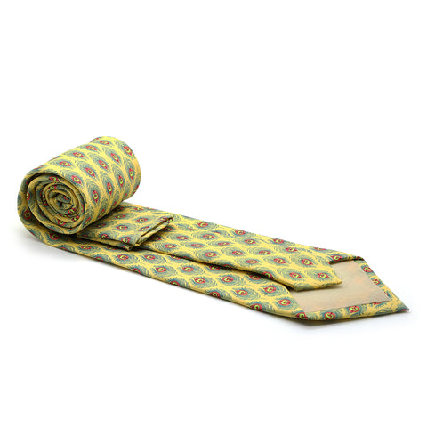 Feather Yellow Necktie with Handkerchief Set